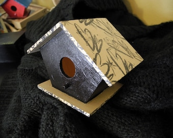 Valentine Birdhouse: Not Your Average VALENTINE-Taupe & Black Birdhouse - 1 sold, 9 available - unique anniversary gift, bird lover gift