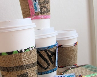 Coffee Cozy - Happy Go Lucky Upcycled Burlap Fabric Coffee Cup Sleeve - Reversible Coffee Drink Cozy - Friend / Teen Gift - Under 10 Holiday