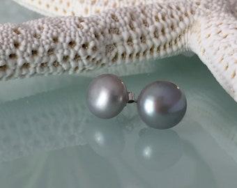 Grey Freshwater Pearl Sterling Silver Stud Earrings, size 11mm