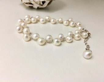 Woven Cultured Freshwater Pearls & Silver Chain Bracelet   Adjustable length
