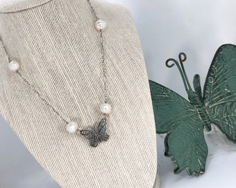 Butterfly and Freshwater Pearls - Sterling Silver Chain Necklace