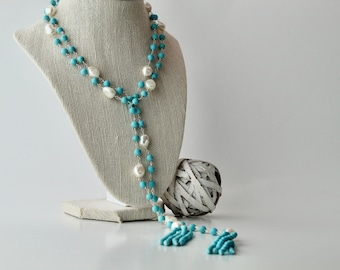 Turquoise Howlite and Cultured Freshwater Pearl Long Lariat Necklace