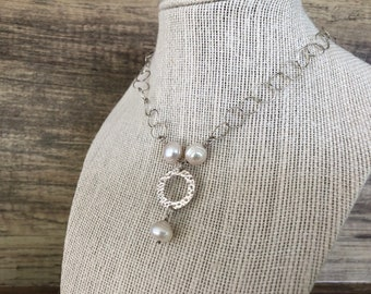 Sterling Silver Circular Chain Necklace with Freshwater Pearls