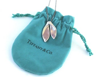 74ce95e5a vintage tiffany and company sterling silver whale tail pendant necklace ... elsa  peretti ... rare ... t & co