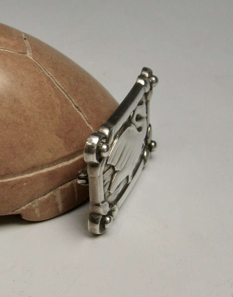 swan brooch .. mid century modern sterling silver pin  .. vintage georg jensen   .. modernist  ..