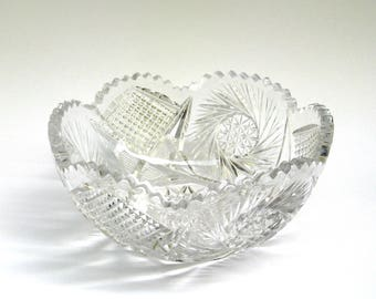 vintage cut crystal bowl   ...   large brilliant  bowl