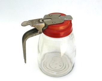vintage glass syrup pourer   ...   retro red
