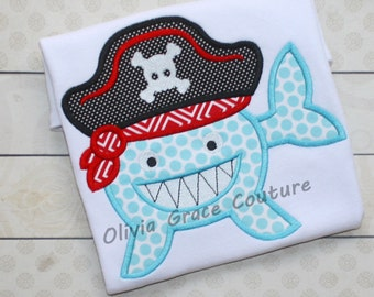 Pirate Shark Shirt, Pirate Shirt, Shark Shirt, Shark Birthday Shirt, 4th of July Shirt, Embroidered Shirt, Applique Shirt, Shark Week Shirt