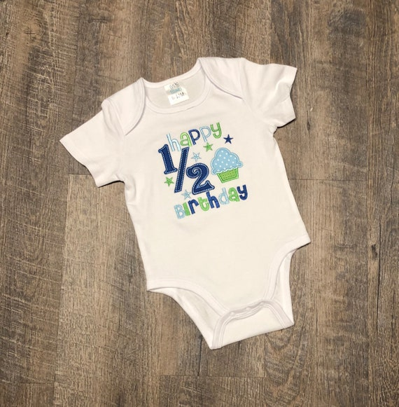 Boys Happy Half Birthday Shirt 1 2 Embroidered For 6 Months Its My Party Babys Outfit