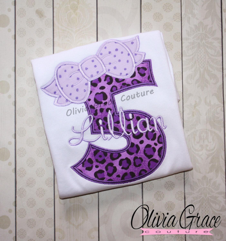 Girls Birthday Shirt Birthday Number Shirt Purple Leopard Etsy
