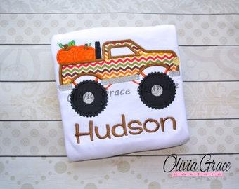Pumpkin Truck Shirt, Boys Fall Shirt, Thanksgiving Shirt, Boys Halloween Shirt, Pumpkin Patch Shirt,  Embroidered Applique Shirt or Bodysuit