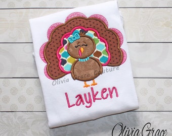 Girls Thanksgiving Shirt, Girls Turkey shirt, Jewel toned girls thanksgiving outfit, Embroidered Applique Bodysuit or Shirt
