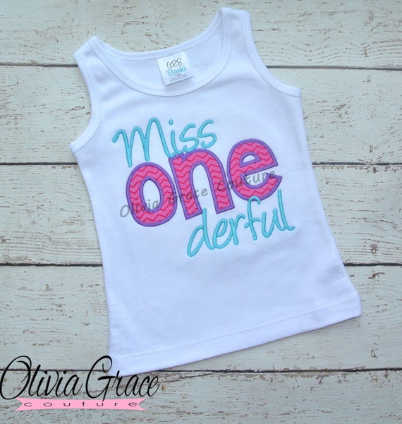 Miss One Derful Wonderful Girls 1st Birthday Shirt Twin Embroidered Applique Bodysuit Or For