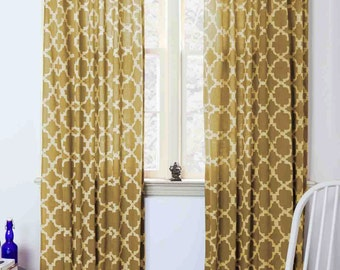 SAMPLE SALE Moroccan Curtains Yellow Tiles Mustard Geometric Window Curtain Block Print Home Living Houseware 44 X 84