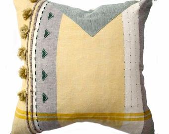 Light Lime Green 20 in throw Pillow  minimalist Scandinavian style hygge  organic cotton  square decorative  sofa throw pillowliving