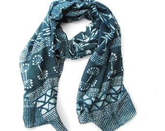 Scarves Teal Blue Green Scarf for Women silk cotton soft skinny scarf OOAK artisan handmade bohemian wrap natural dye anniversary gift