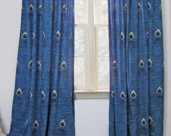 Blue Window curtains Navy Indigo bohemian boho drapes bedroom panels boho block-printed natural dye living ichcha One panel - Nazar Indigo