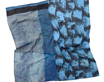 Black and White Bandana, Light weight Neck scarf, Neckerchief - TWINSIES