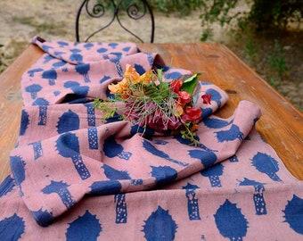 Pink RUNNER / Floral Garden print / organic cotton / Pink Wedding Table Decor -  Pink Rani sample runner