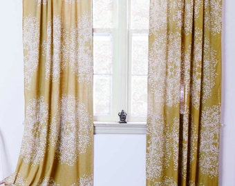 """Yellow curtains panels window curtains treatment mustard printed home living houseware -ONE panel - Tree Forest  44""""w x 84""""L/ 96""""/ 108"""""""