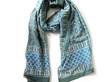 Gifts for Women Scarf Green scarves silk cotton scarves ONE OF A KIND handmade bohemian geometric wrap natural dye ichcha anniversary gift