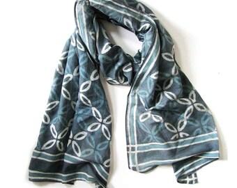 Women Scarves Teal Blue Green Scarf for Women silk cotton soft skinny scarf OOAK artisan handmade bohemian wrap natural dye anniversary gift