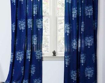 "Indigo blue navy window curtains SAMPLE SALE 84"" long  bedroom drapes, shades - hand block printed - Cotton window treatments - Tree"