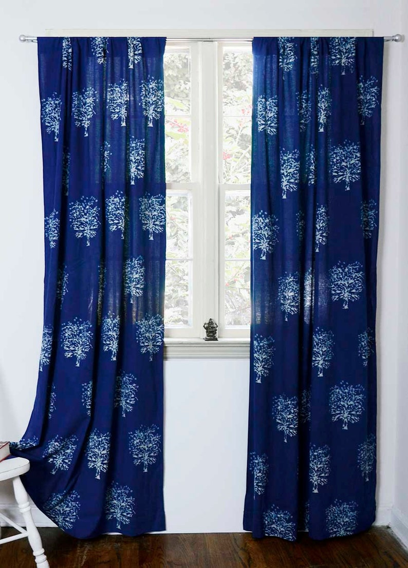 Indigo curtains window curtain Indigo blue bedroom is sold   Etsy