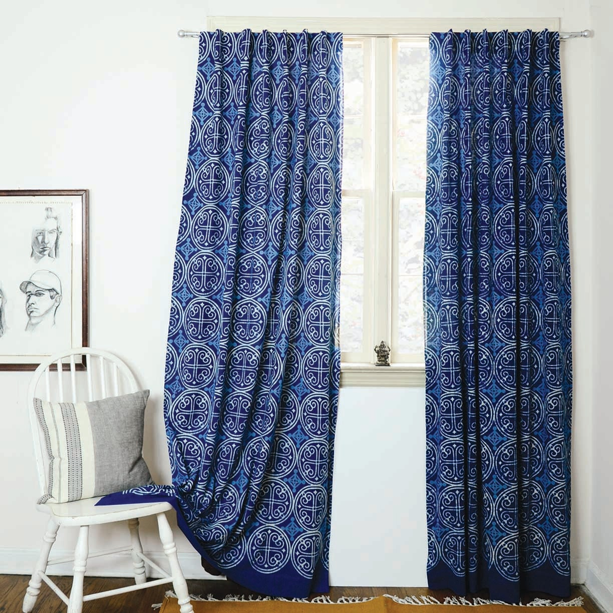 Indigo curtains Blue curtains window boho bedroom home decor block print  home living ONE panel - GREECE indigo 56\