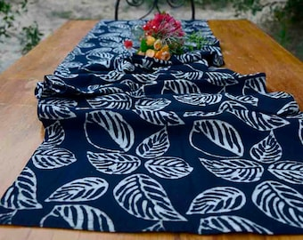 Black and white Block Printed Table Runner / Organic Cotton Black Table Linens / Table decor / Plant Dyed / Handmade / Leaves Sample sale