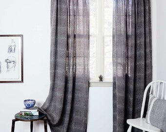 """Stripe Window Curtains Linen gray charcoal Drapes Window Treatments SAMPLE SALE Shades for the home, block printed -50"""" x 84"""" vertical lines"""