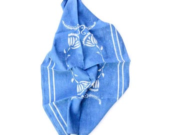Tea Towel Cotton Kitchen Towel Blue Indigo SAMPLE SALE boho Home and Living home decor block print house warming Gift for the home - DANISH
