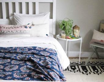 Indigo Suzani Moroccan throw blanket, block printed hand embroidered blue navy bedcover bohemian boholuxe Throw, housewarming gift - SUZANI