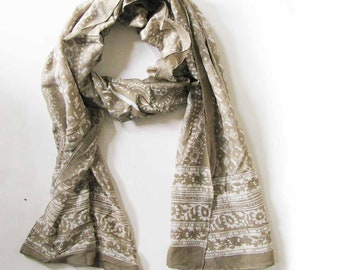 Scarf for women beige taupe neutral mocha silk cotton scarves ONE OF A KIND handmade Block Print wrap natural dye ichcha anniversary gift