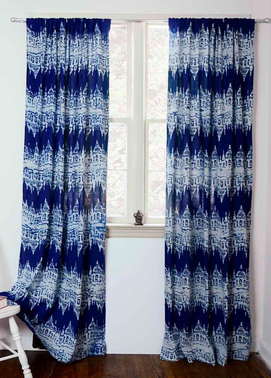 Navy Blue Ika Curtains Panels Dark Blue Window Block Print