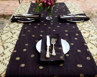 Moon dot RUNNER golden polka dot / Geometric print / organic cotton / Golden Wedding Table Decor -  Golden Dots sample runner