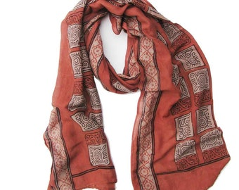 Red scarf for women silk cotton coral salmon scarves dyed scarf handmade Block Print wrap natural dye ichcha anniversary gift for her -Tayab