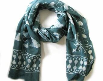 Scarves Green Scarf for Women Scarf scarves silk cotton scarves OOAK artisan handmade bohemian geometric wrap natural dye anniversary gift