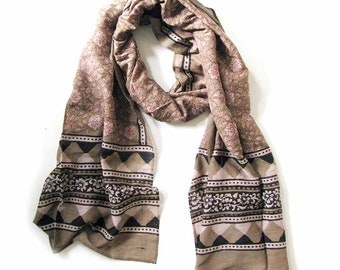Floral Scarf for Women Scarf Brown scarves silk cotton scarves ONE OF A KIND handmade bohemian geometric wrap natural dye anniversary gift