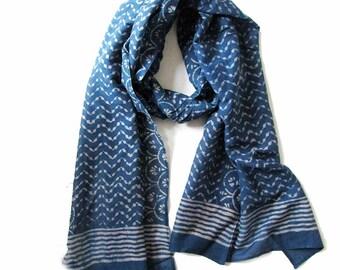 Blue Scarf for women Indigo Violet silk cotton scarves ONE OF A KIND handmade bohemian Block Print wrap natural dye ichcha anniversary gift