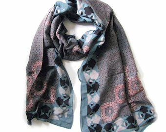 OOAK Scarf for Women Scarf Blue Red scarves silk cotton scarves One Of A kind handmade bohemian geometric wrap natural dye anniversary gift