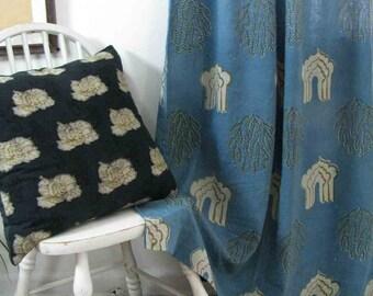 Blue Window curtains Navy Indigo bohemian boho drapes bedroom panels boho block-printed natural dye living ichcha One panel Curtains-Jharoka