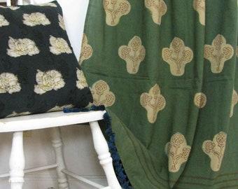 bohemian curtains green drapes window panels bedroom window curtains boho decor block printed natural dye ichcha One panel - KALAM green