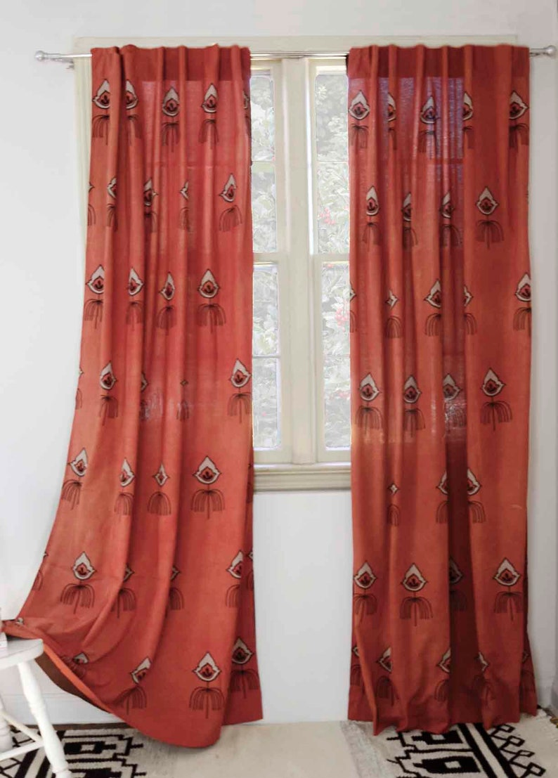 Bohemian Curtains Coral Rust Window Curtains Window Boho Etsy