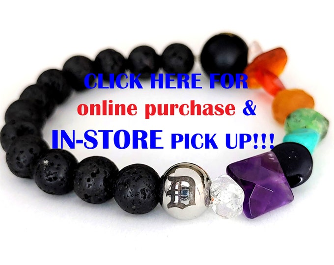 Purchase online then PICK-UP in store- DIY Kit: Detroit Love D Chakra Gemstone Lava Bead Bracelet