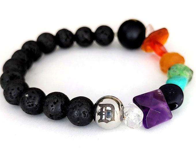Detroit Love D Chakra Gemstone Lava Bead Bracelet