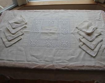 Vintage Beige Crochet Linen Tablecloth and Napkins