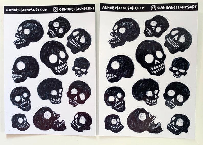 Black Skull Stickers Goth Creepy Gloss image 0