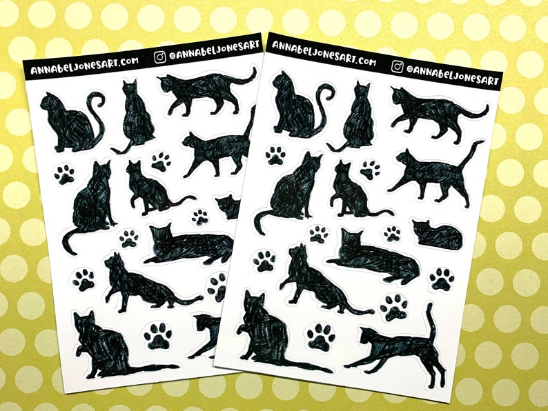 Black Cat Stickers Goth Creepy Planner Dark image 0