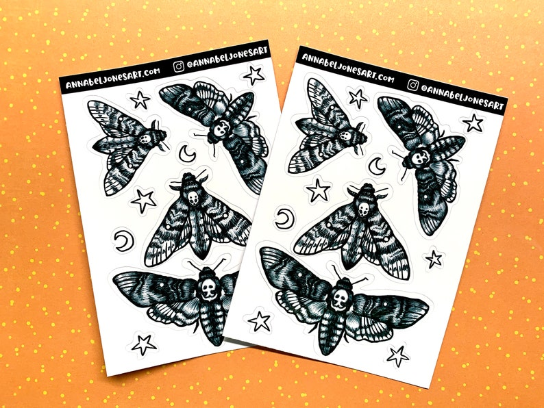 Glossy Death Head Moth Stickers  Spooky Goth image 0
